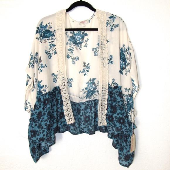b3f74830 Stella Tweed Tops | New Boho Floral Kimono | Poshmark